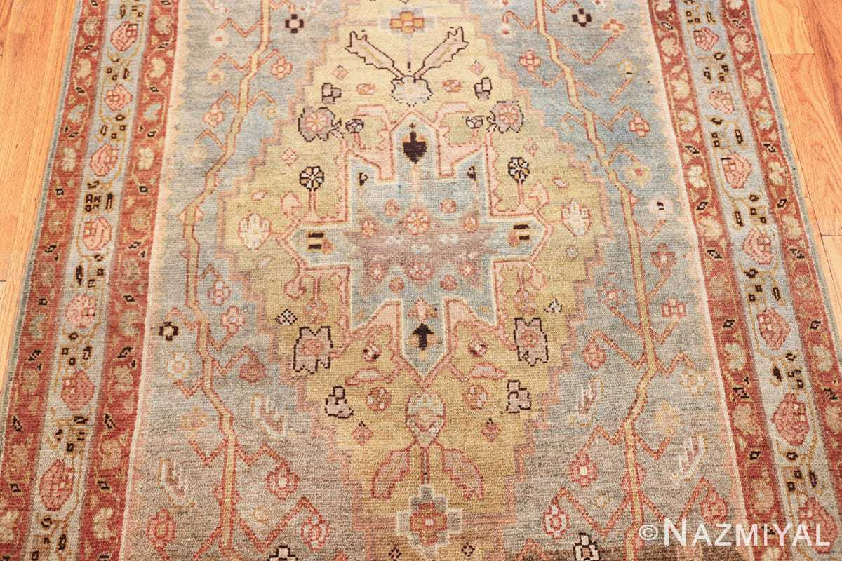 antique blue background malayer persian runner rug 49626 yellow Nazmiyal