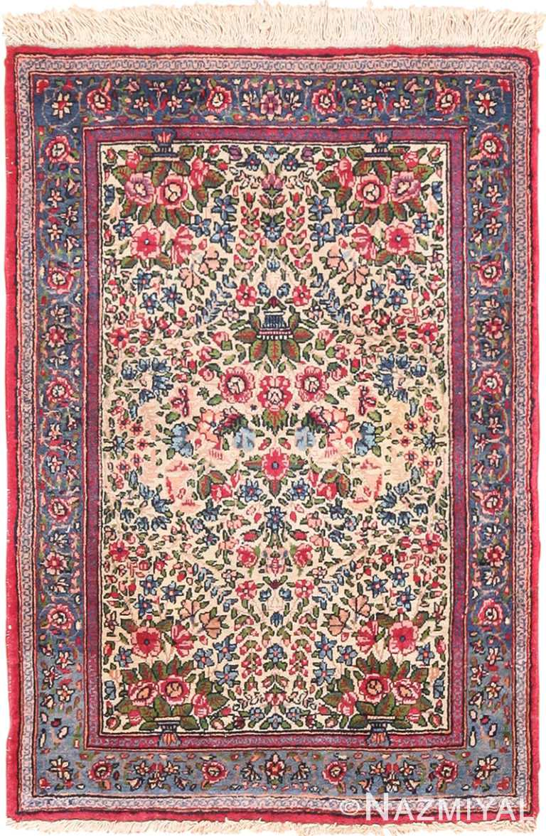 Small Scatter Size Antique Floral Persian Kerman Rug 49617 by Nazmiyal