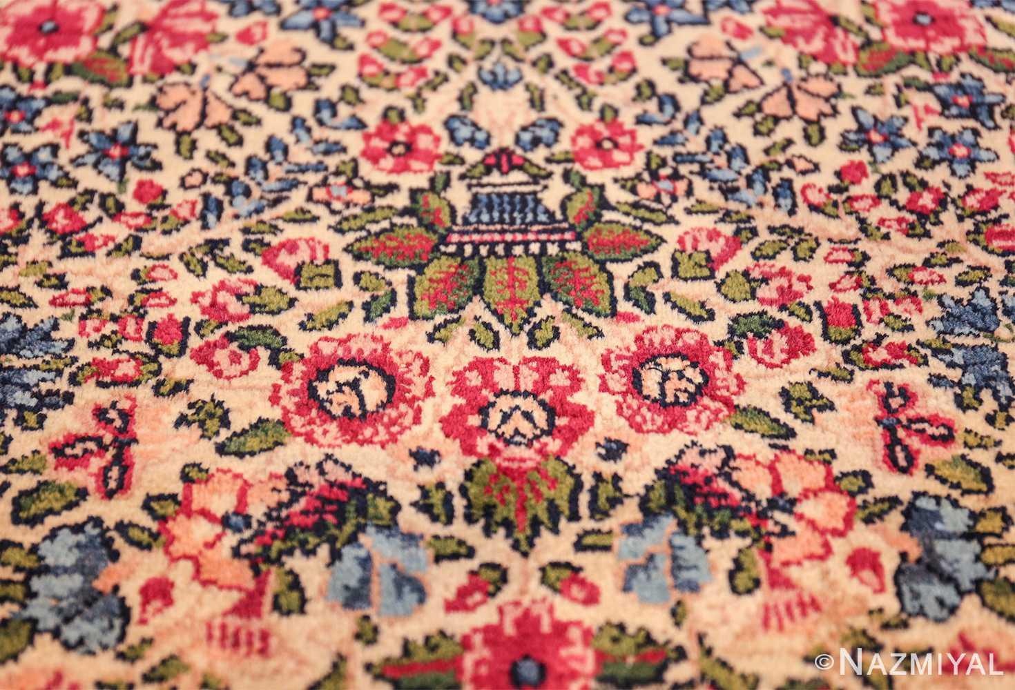antique floral kerman persian rug 49617 basket Nazmiyal