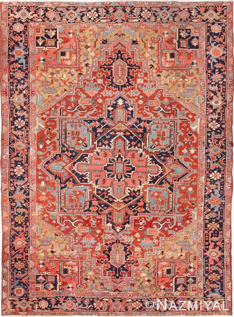 Antique Geometric Persian Heriz Rug 49632 by Nazmiyal