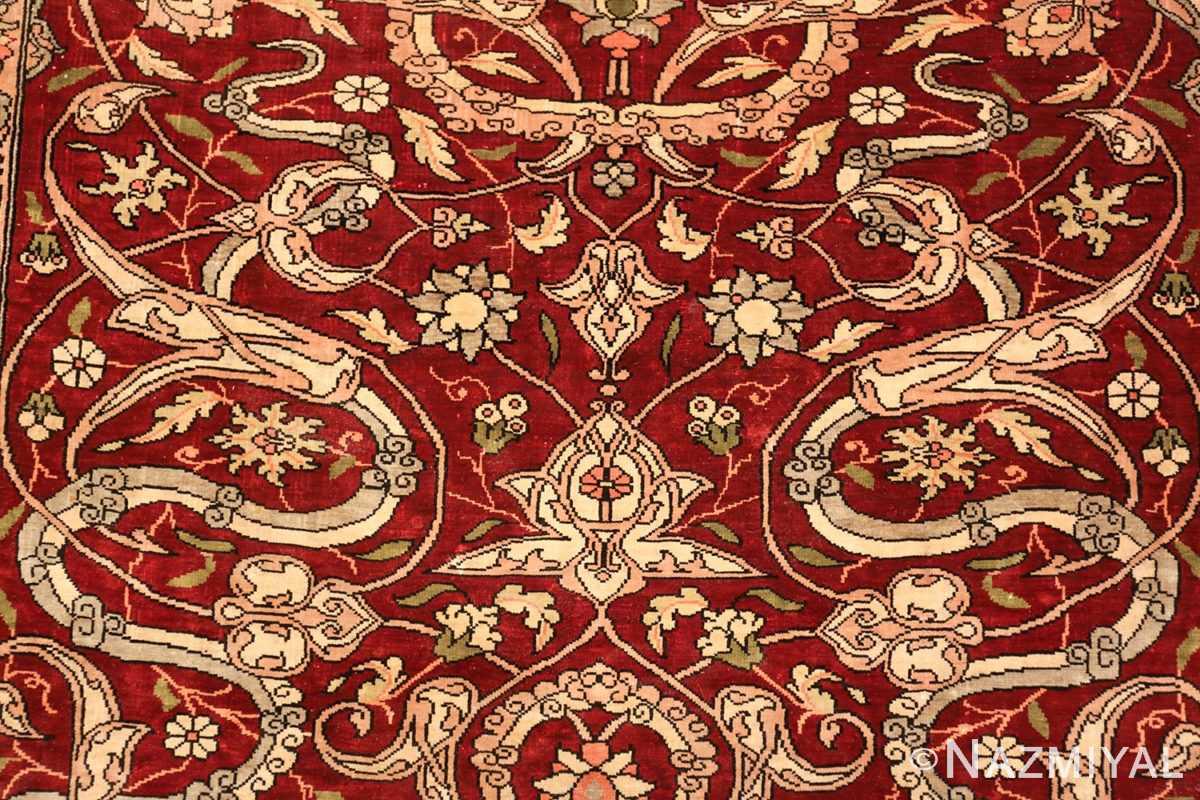 vintage silk hereke turkish prayer rug 49611 field Nazmiyal