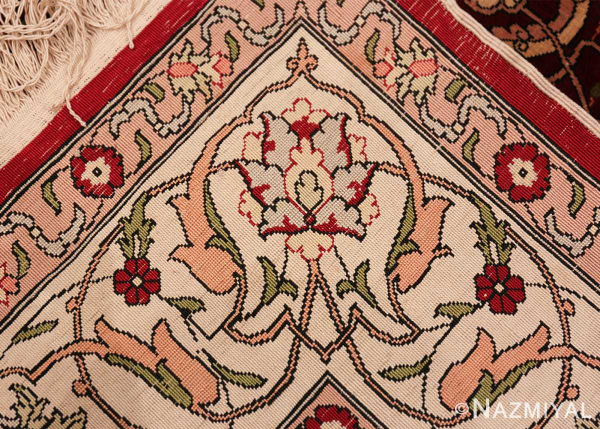 vintage silk hereke turkish prayer rug 49611 knots Nazmiyal