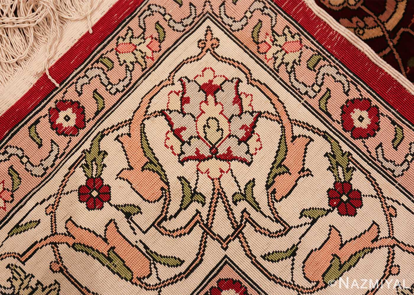 vintage silk hereke turkish prayer rug 49611 knots Nazmiyal