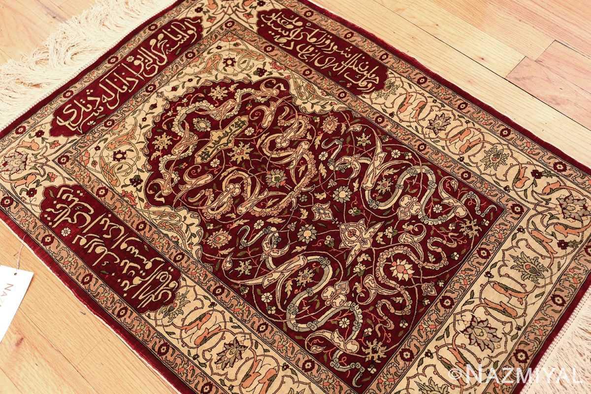 vintage silk hereke turkish prayer rug 49611 side Nazmiyal