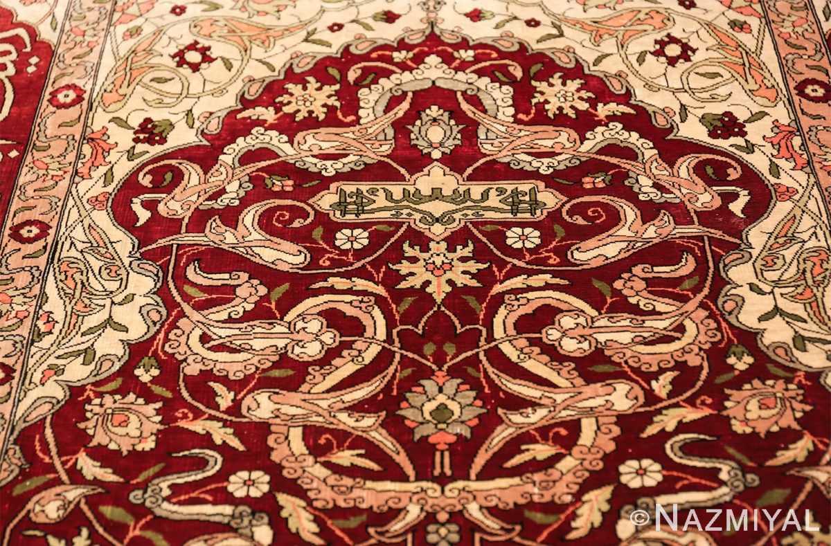 vintage silk hereke turkish prayer rug 49611 top Nazmiyal