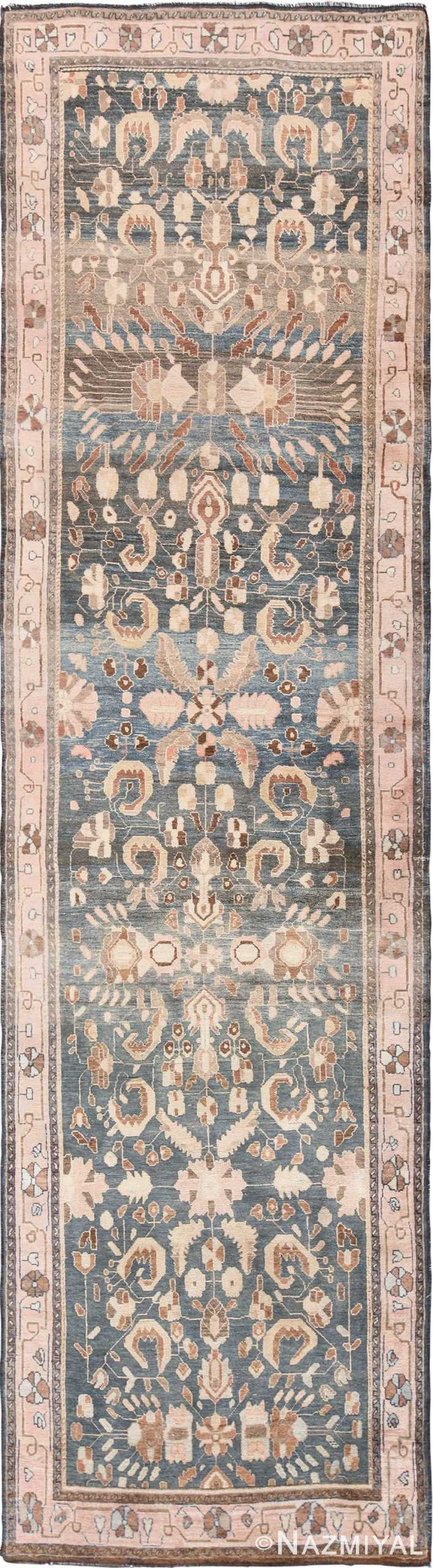 Grey Blue Antique Khorassan Persian Runner Rug 49638 by nazmiyal