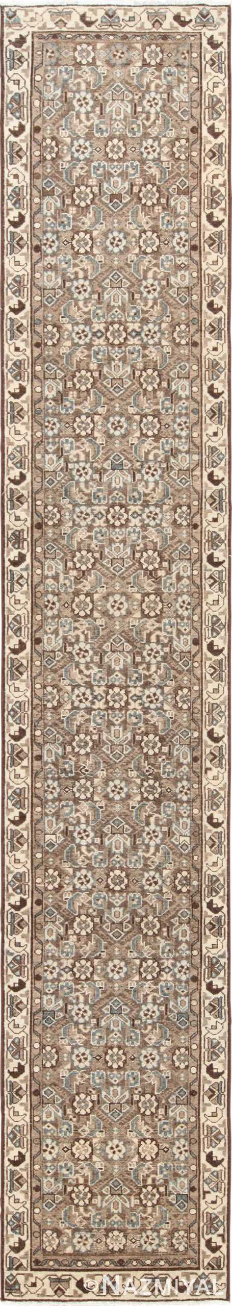 Decorative Earth Tone Antique Persian Malayer Runner Rug 49630 by Nazmiyal