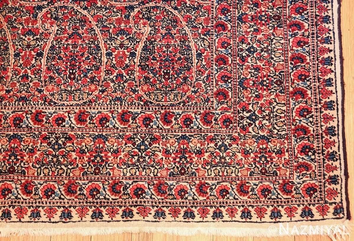 antique millefleur design kerman persian rug 49620 corner Nazmiyal