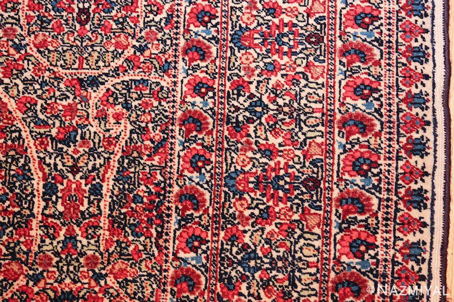 antique millefleur design kerman persian rug 49620 border Nazmiyal