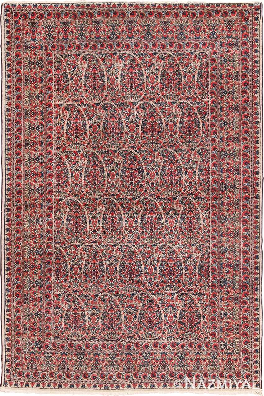 Paisley Millefleurs Design Small Antique Persian Kerman Rug 49620 by Nazmiyal
