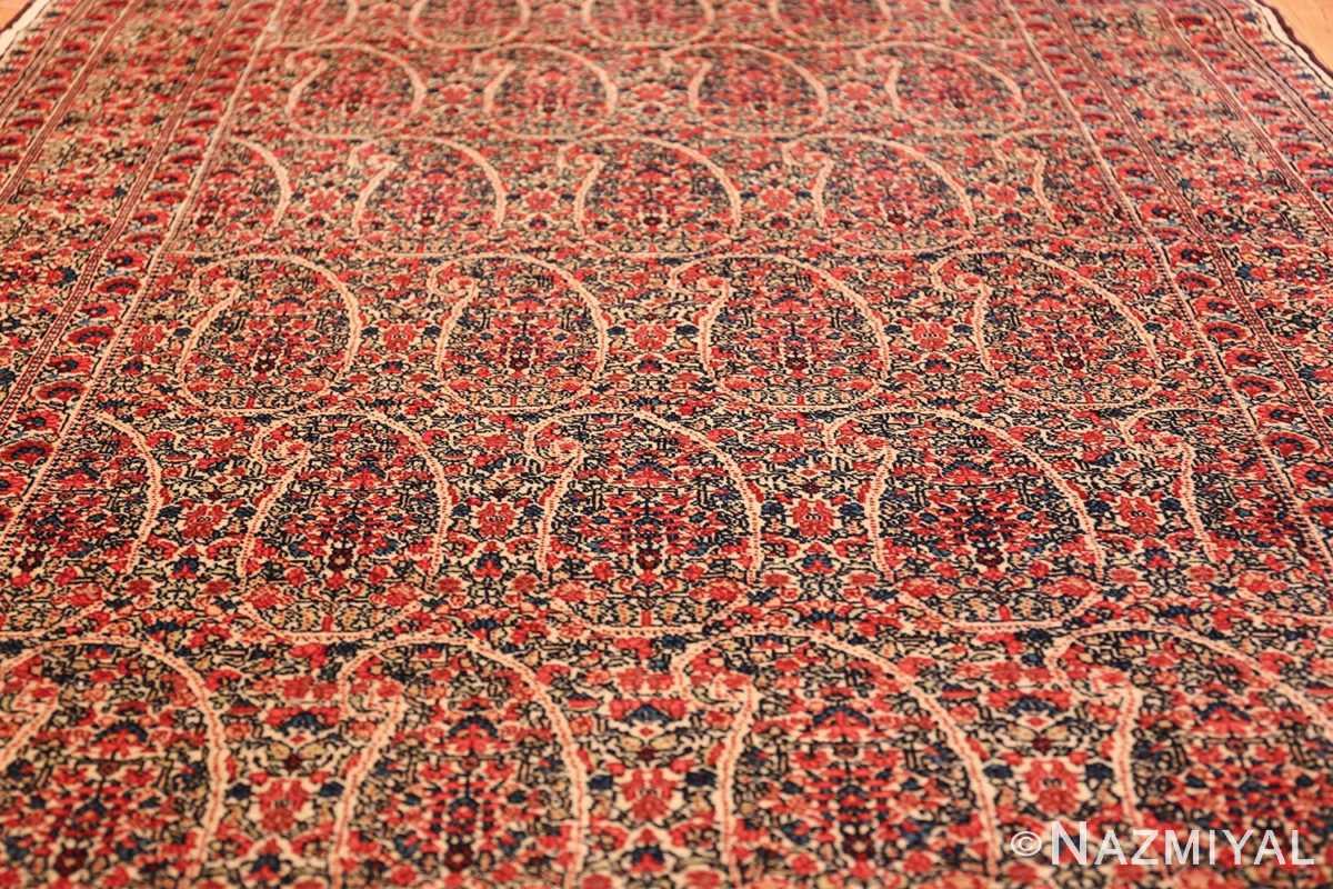 antique millefleur design kerman persian rug 49620 field Nazmiyal