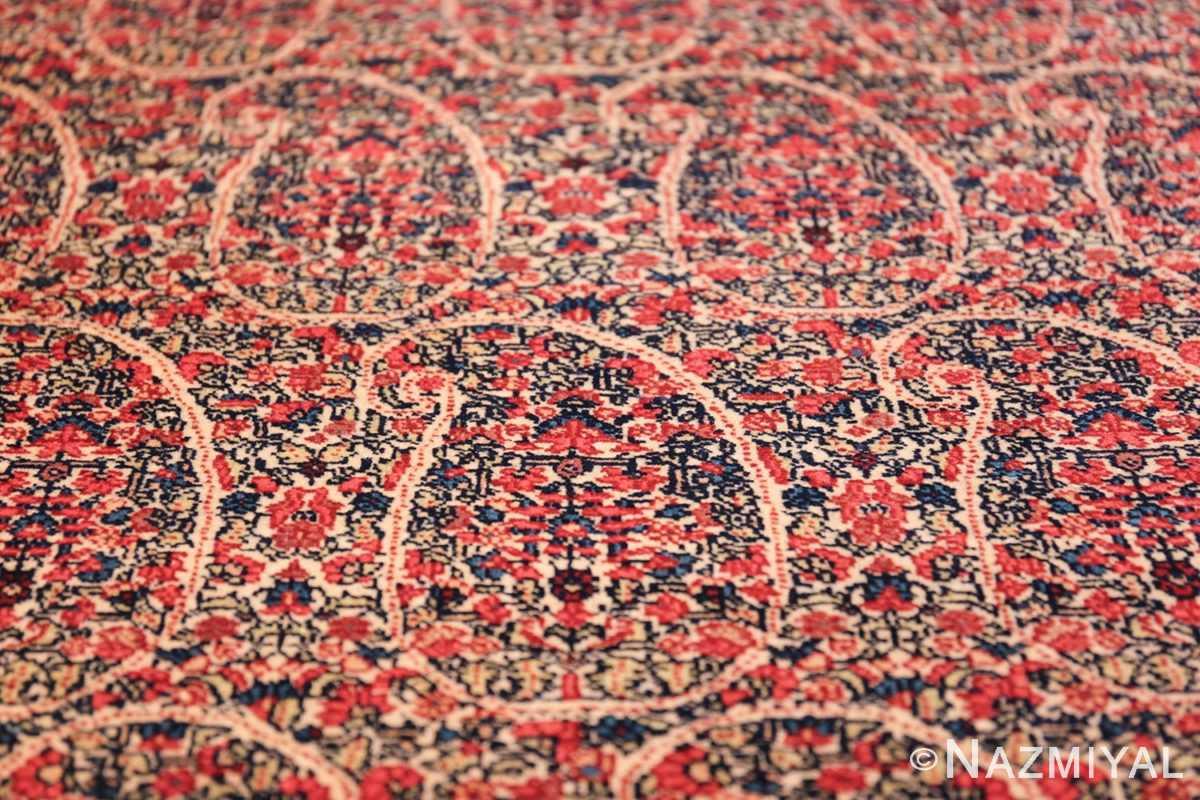 antique millefleur design kerman persian rug 49620 closeup Nazmiyal