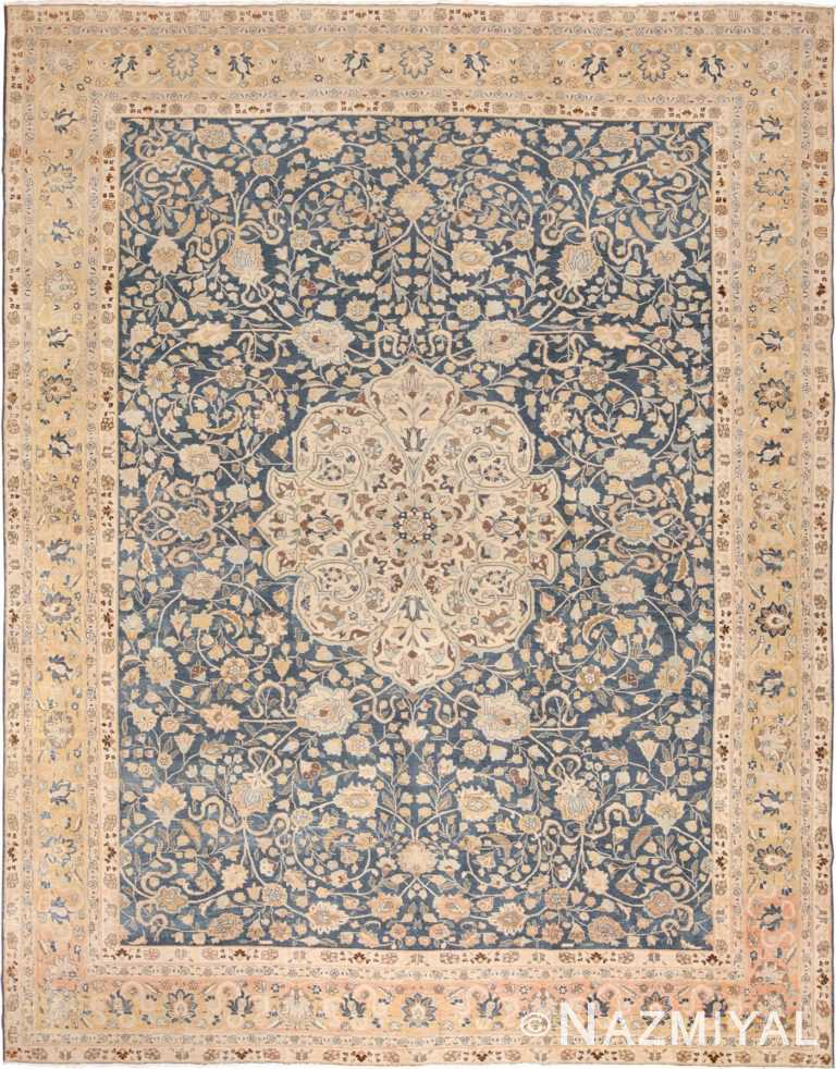 Fine Antique Royal Blue Persian Tabriz Rug 49635 by Nazmiyal