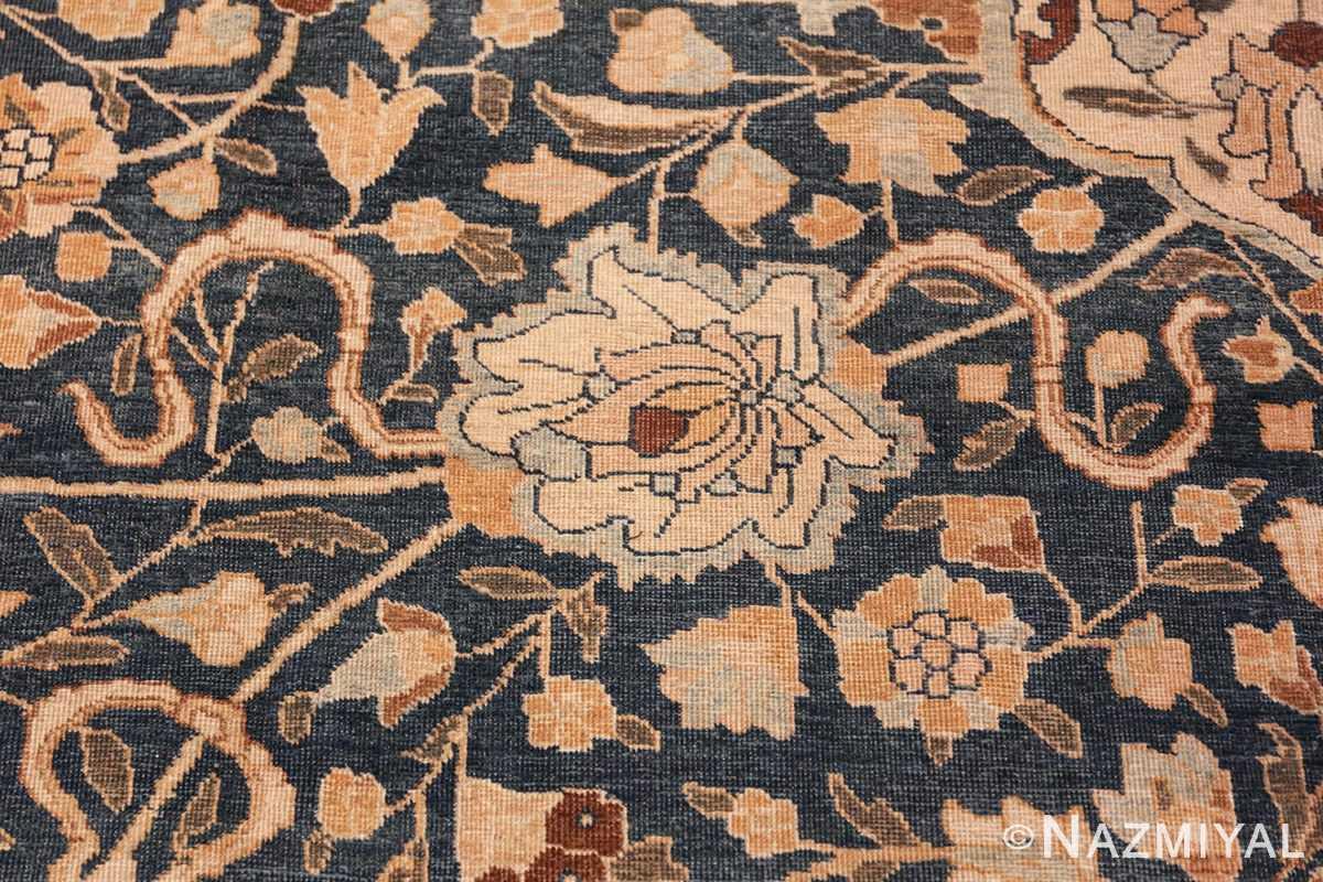 antique navy background tabriz persian rug 49635 flower Nazmiyal