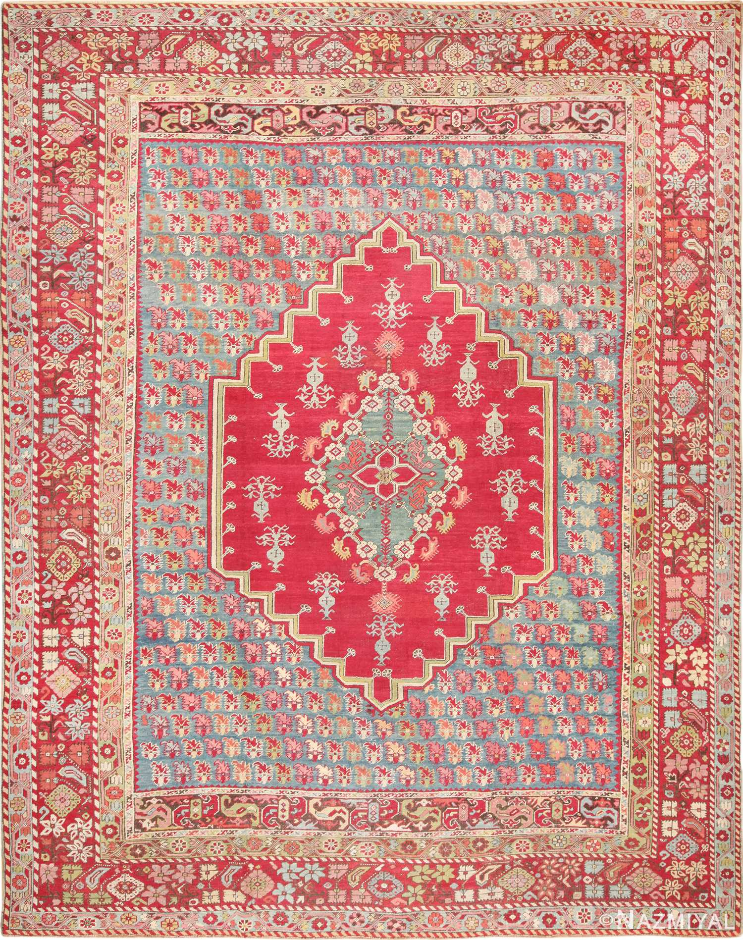 Happy and Colorful Room Size Antique Turkish Ghiordes Rug 49657 by Nazmiyal