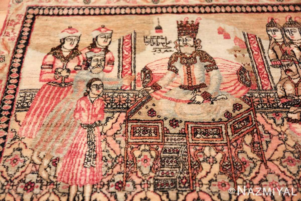 antique small size pictorial kerman persian rug 49618 boy Nazmiyal