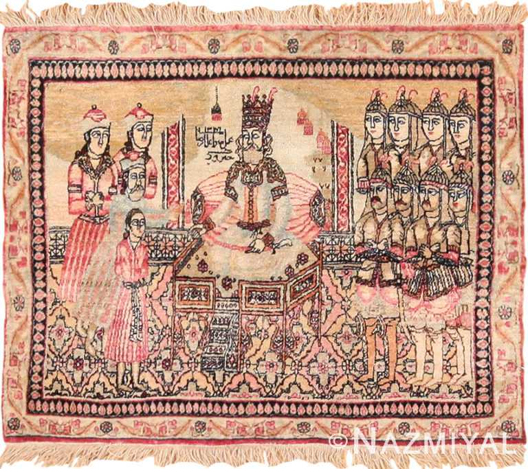 Antique Small Scatter Size Persian Pictorial Kerman Rug 49618 by Nazmiyal