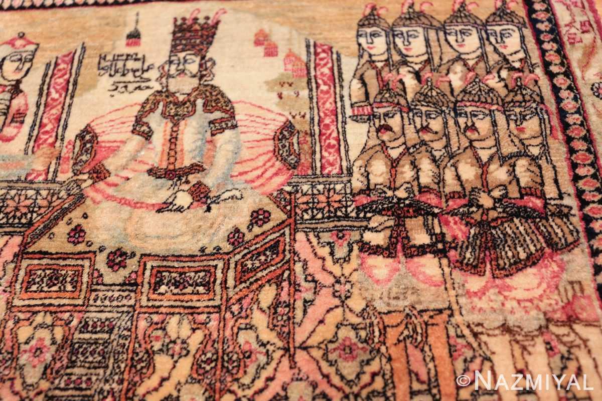 antique small size pictorial kerman persian rug 49618 right Nazmiyal