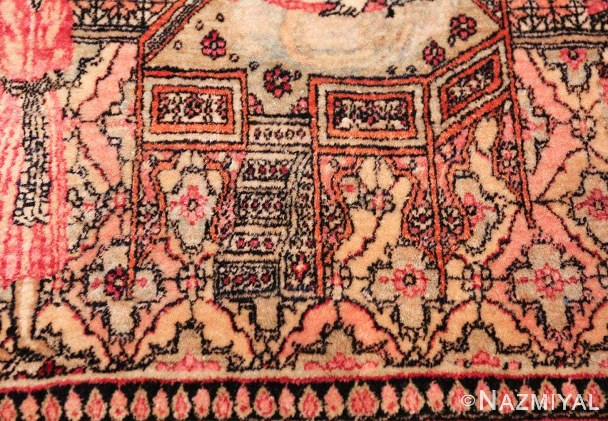 antique small size pictorial kerman persian rug 49618 stairs Nazmiyal