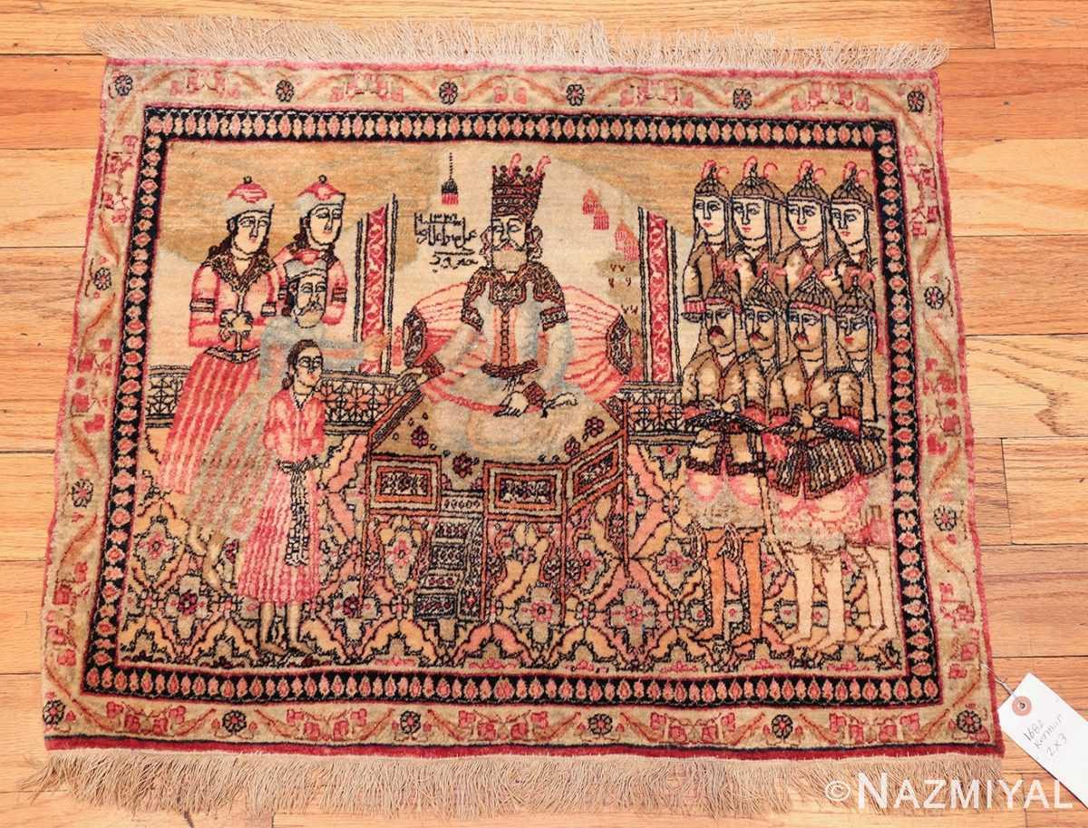 antique small size pictorial kerman persian rug 49618 up Nazmiyal