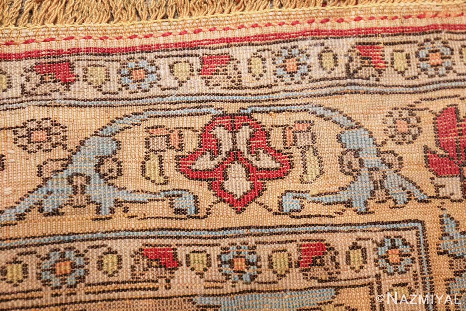 antique souf silk kashan persian rug 49615 knots Nazmiyal