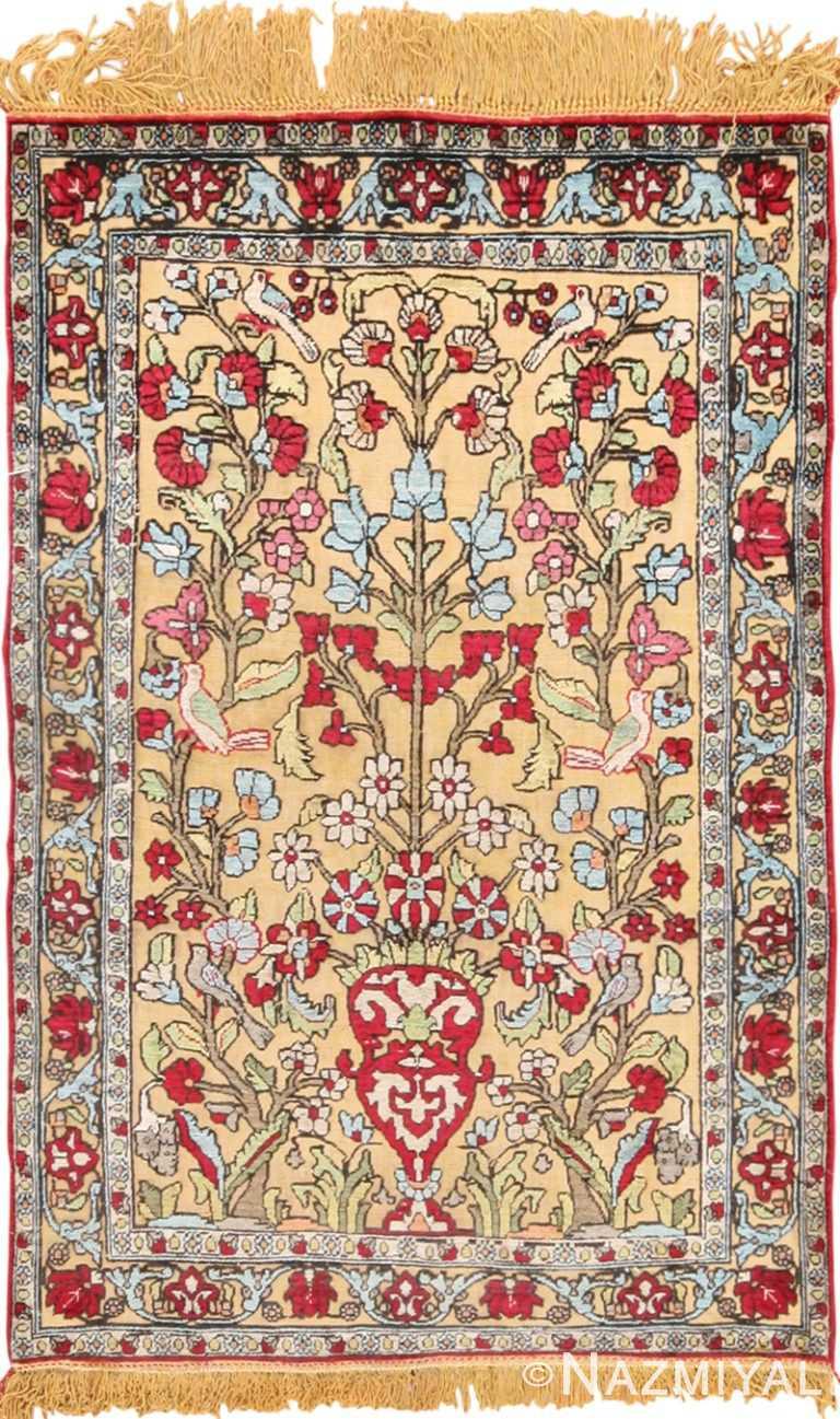 Small Vase Design Antique Silk Persian Souf Kashan Rug 49615 by Nazmiyal