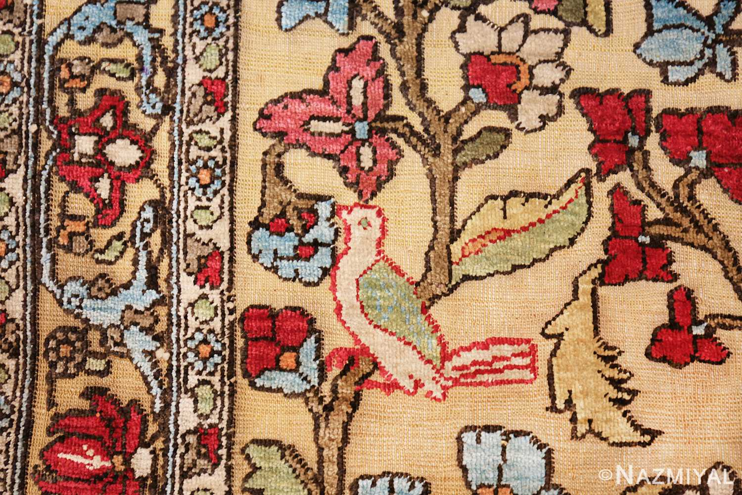 antique souf silk kashan persian rug 49615 bird Nazmiyal