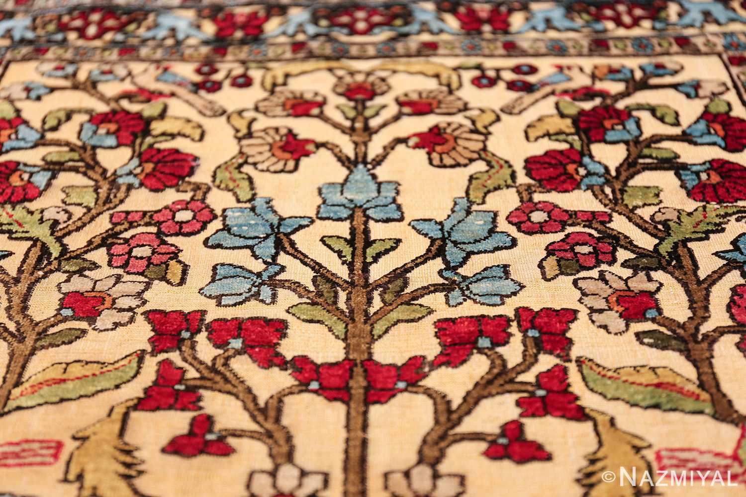 antique souf silk kashan persian rug 49615 plant Nazmiyal
