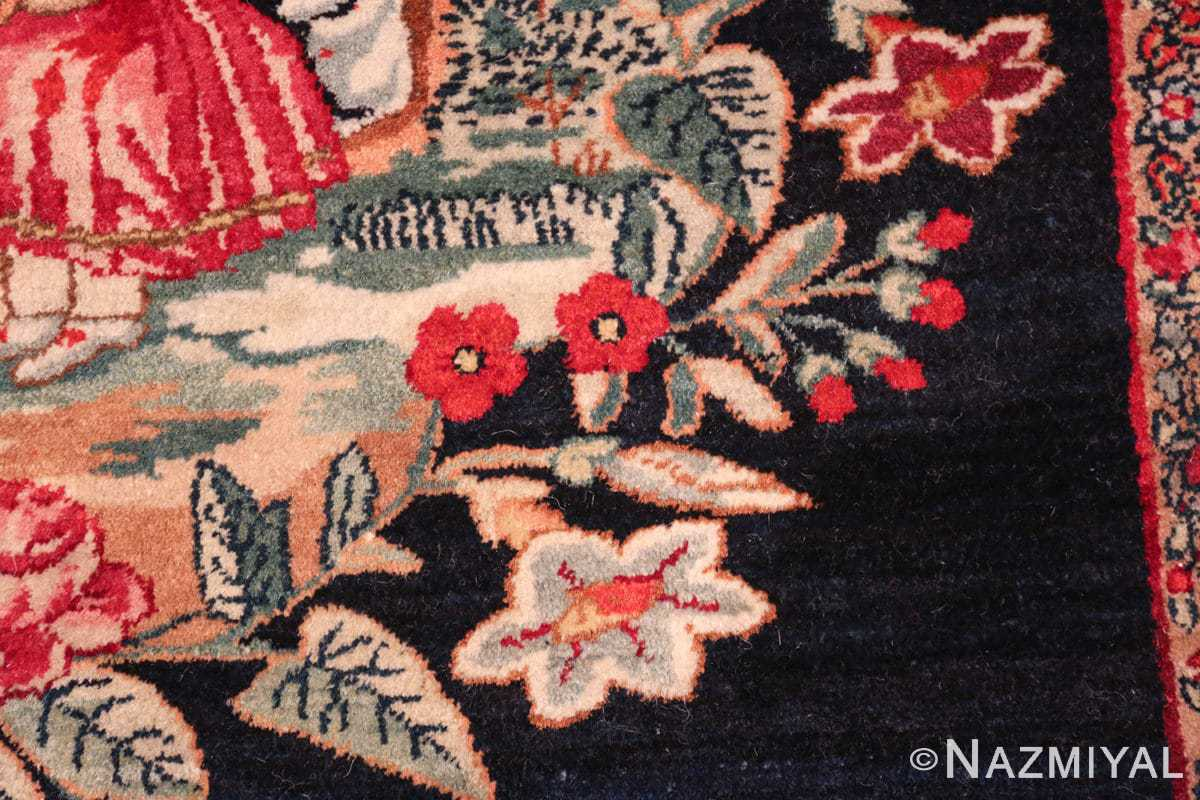 antique square small size kerman persian rug 49614 field Nazmiyal