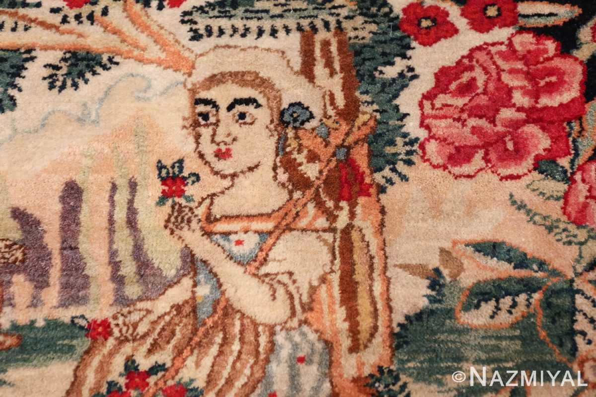 antique square small size kerman persian rug 49614 rose Nazmiyal
