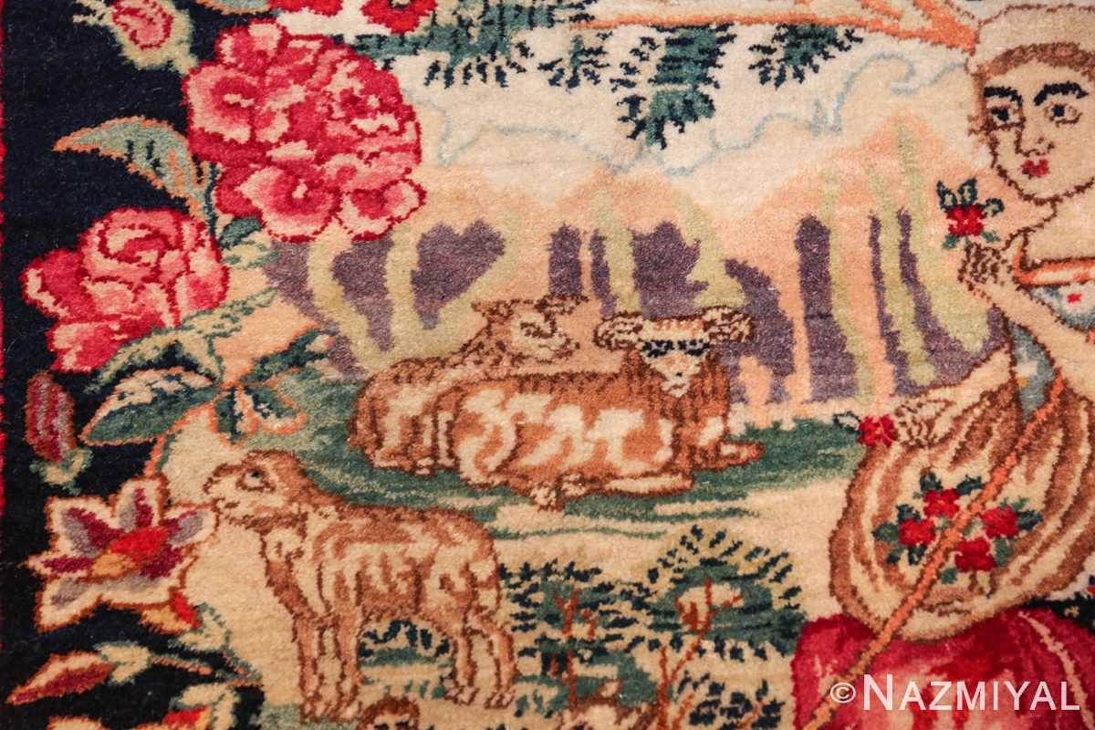 antique square small size kerman persian rug 49614 sheep Nazmiyal