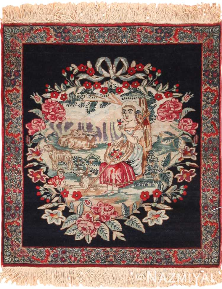 Small Square Size Antique Pictorial Persian Kerman Rug 49614 by Nazmiyal