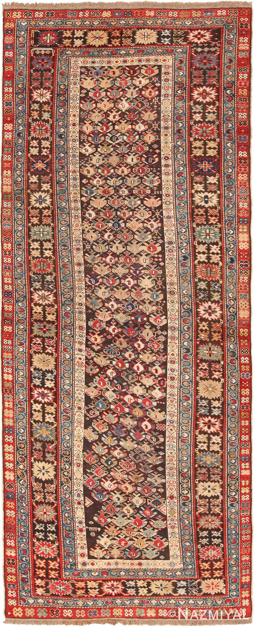 Chocolate Brown Antique Tribal Caucasian Kuba Rug 49643 by Nazmiyal