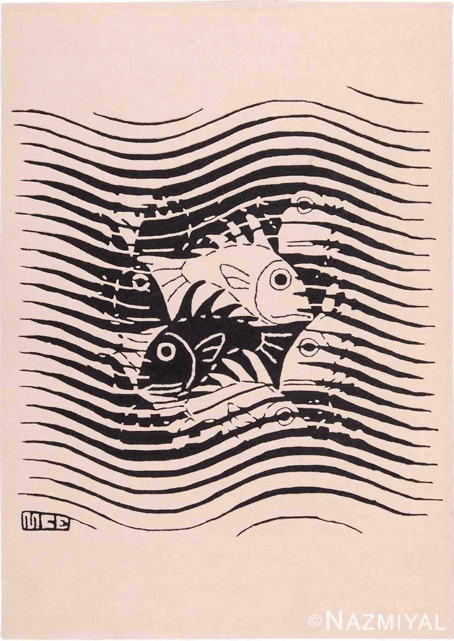 Vintage Scandinavian Black and White Maurits Escher Art Rug 49662 by Nazmiyal