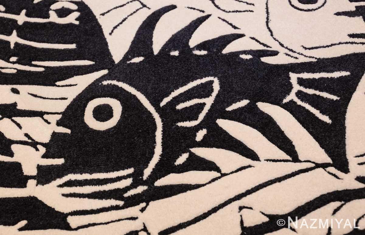 black and white vintage maurits escher designed scandinavian fish rug 49662 black Nazmiyal