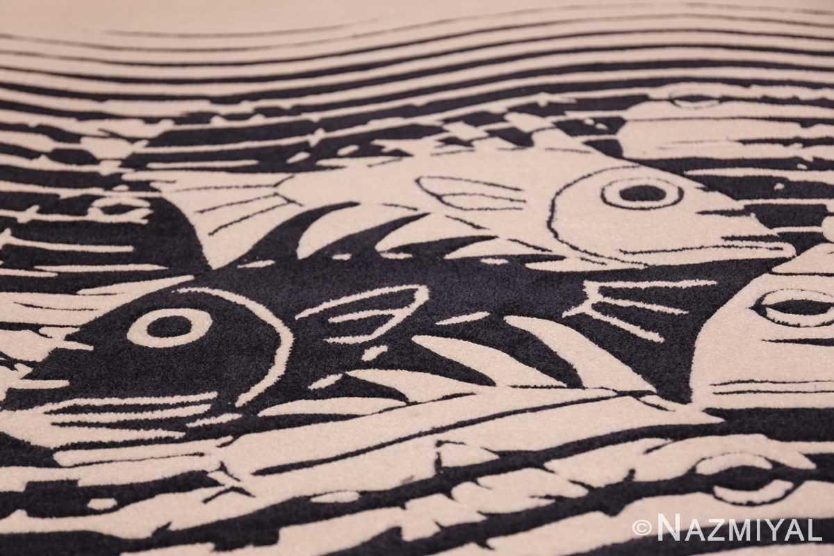 black and white vintage maurits escher designed scandinavian fish rug 49662 closeup Nazmiyal