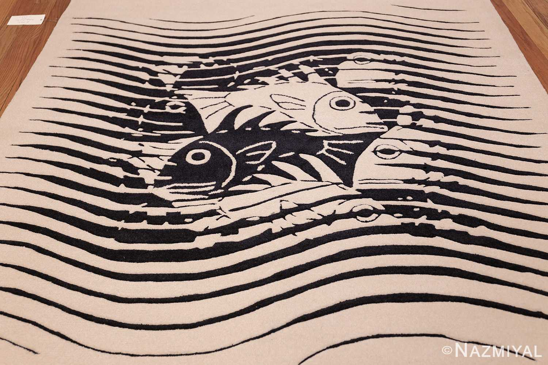 black and white vintage maurits escher designed scandinavian fish rug 49662 field Nazmiyal