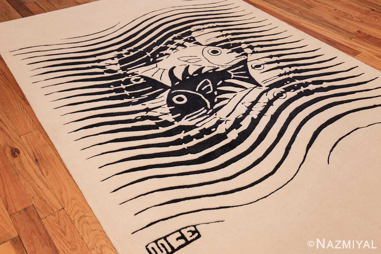 black and white vintage maurits escher designed scandinavian fish rug 49662 side Nazmiyal