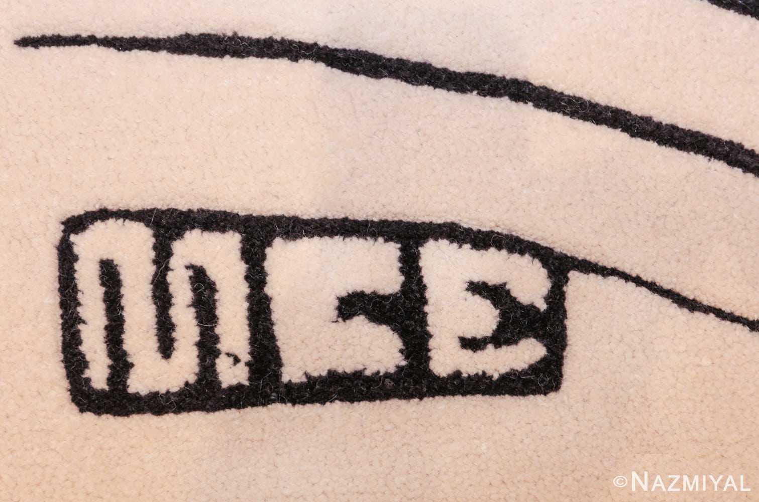 black and white vintage maurits escher designed scandinavian fish rug 49662 signature Nazmiyal