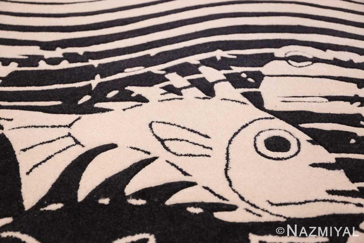 black and white vintage maurits escher designed scandinavian fish rug 49662 white Nazmiyal