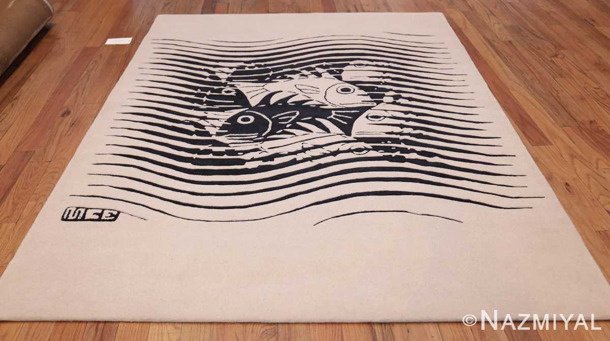 black and white vintage maurits escher designed scandinavian fish rug 49662 whole Nazmiyal