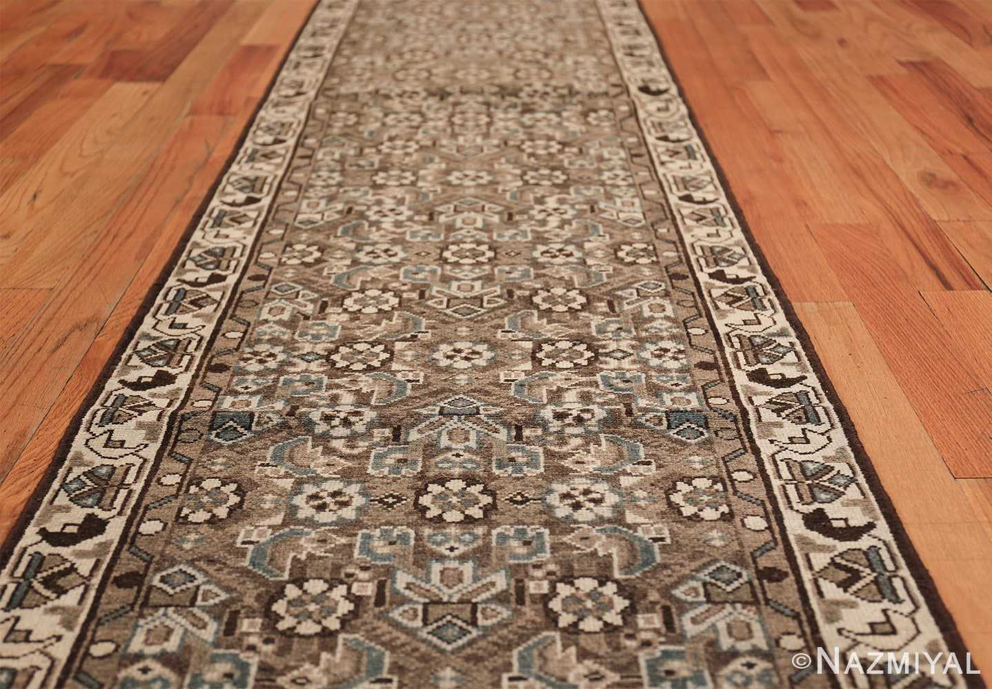 Decorative Earth Tone Antique Persian Malayer Runner Rug 49630 Field Design Nazmiyal