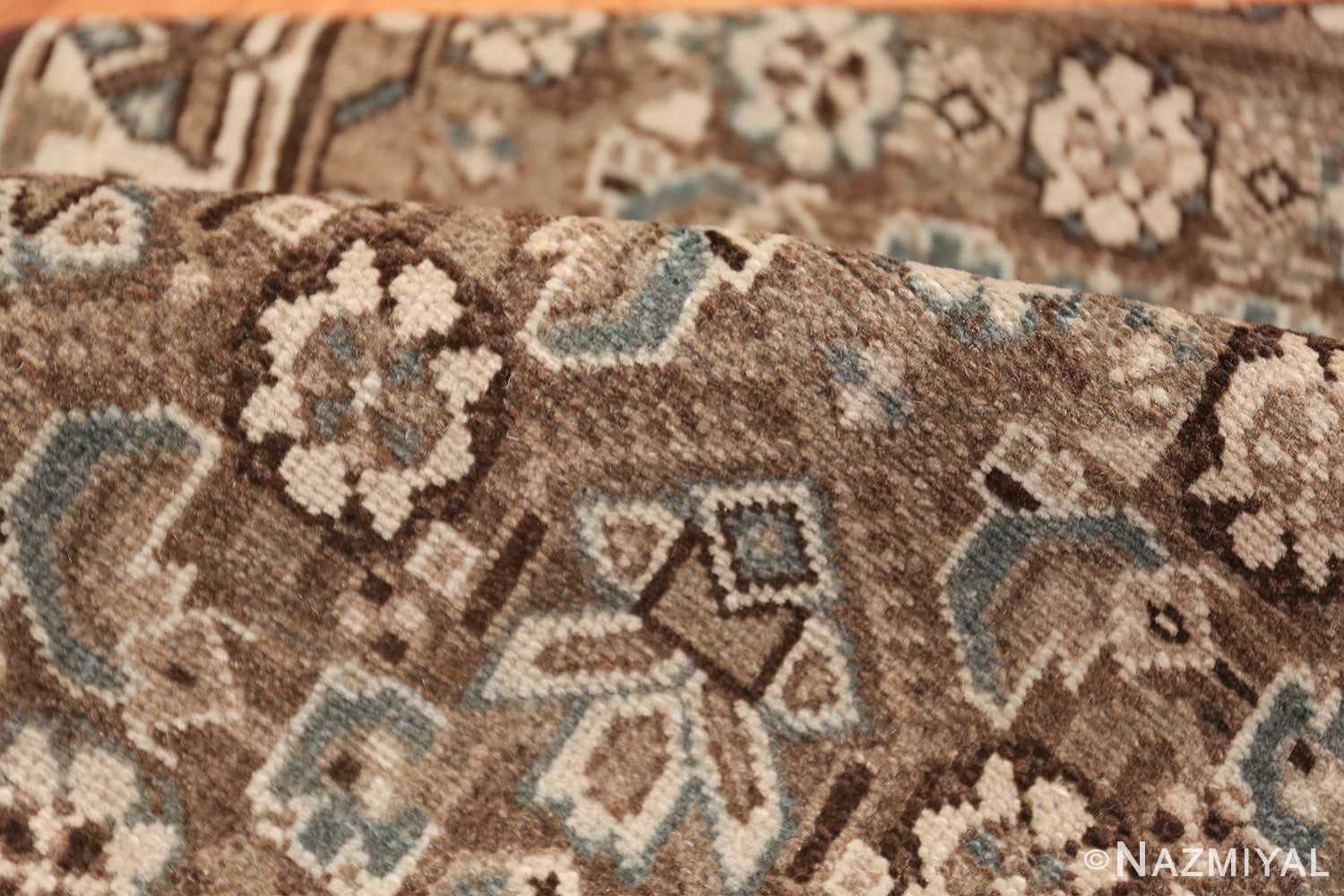 Decorative Earth Tone Antique Persian Malayer Runner Rug 49630 Floral Pile Nazmiyal