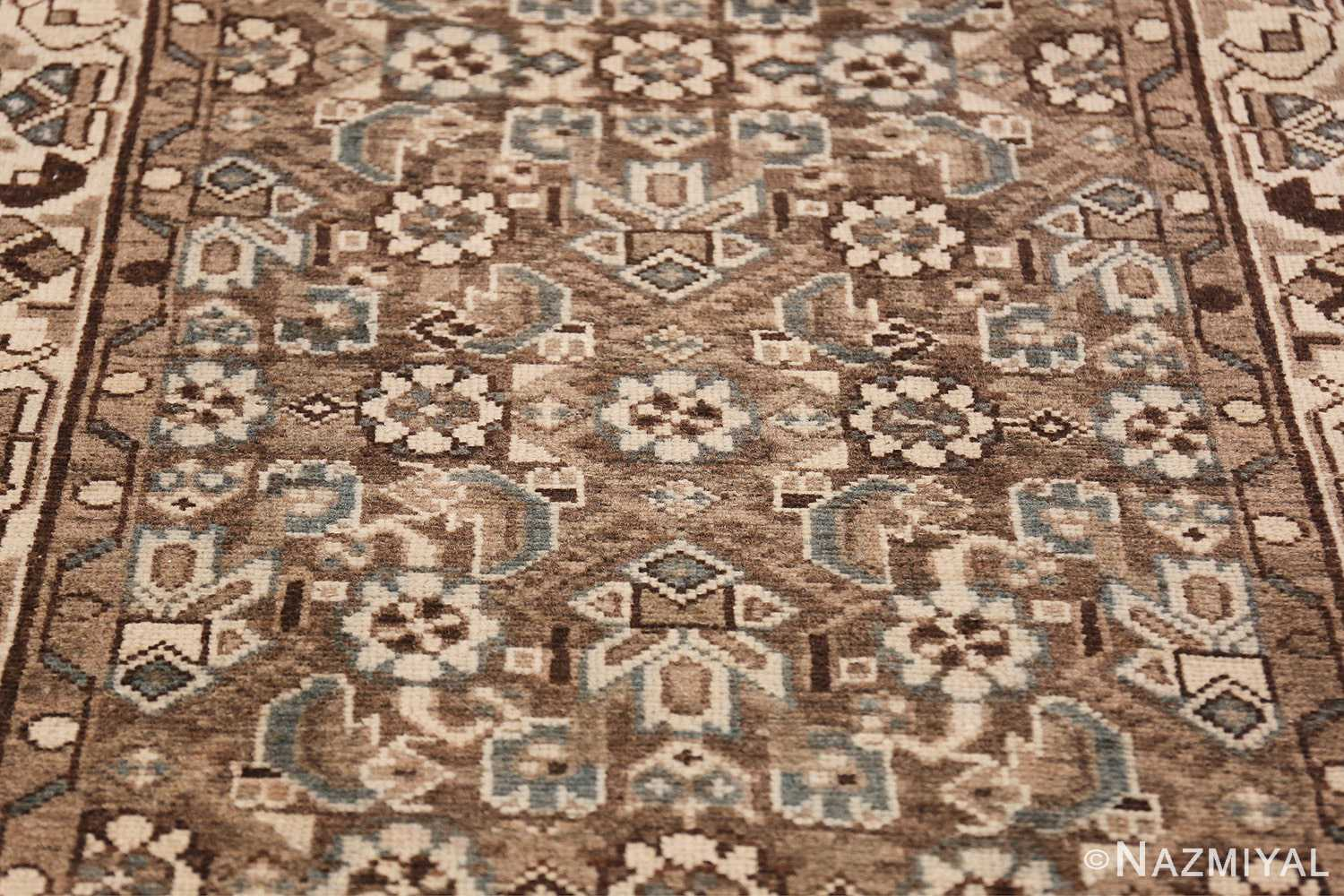 Decorative Earth Tone Antique Persian Malayer Runner Rug 49630 Ivory Design Nazmiyal
