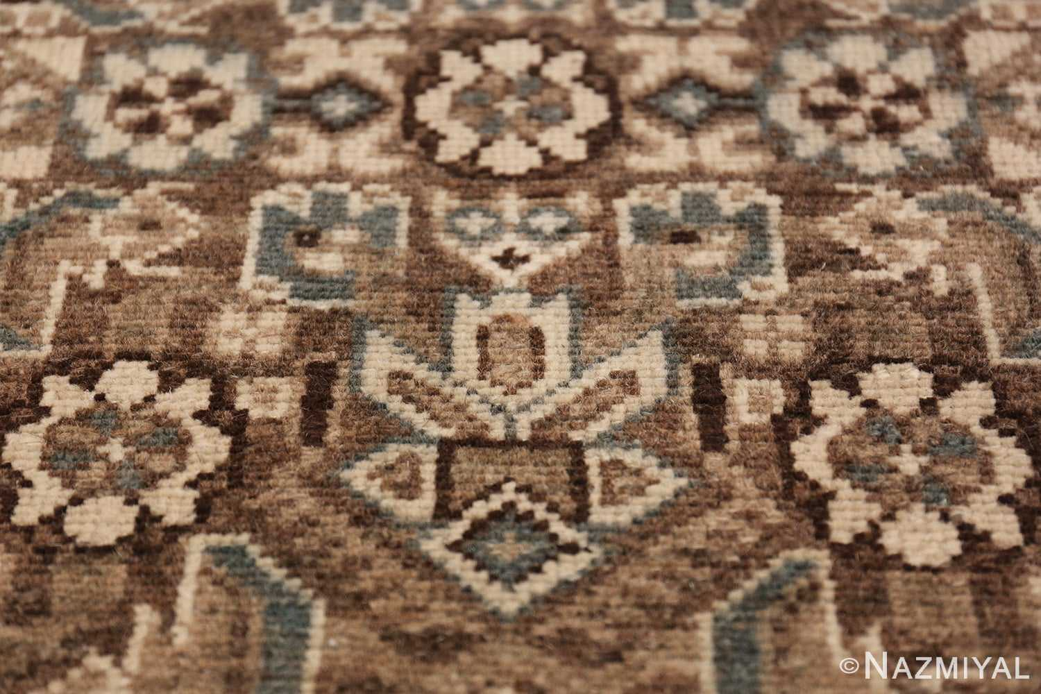 Decorative Earth Tone Antique Persian Malayer Runner Rug 49630 Ivory Flower Nazmiyal