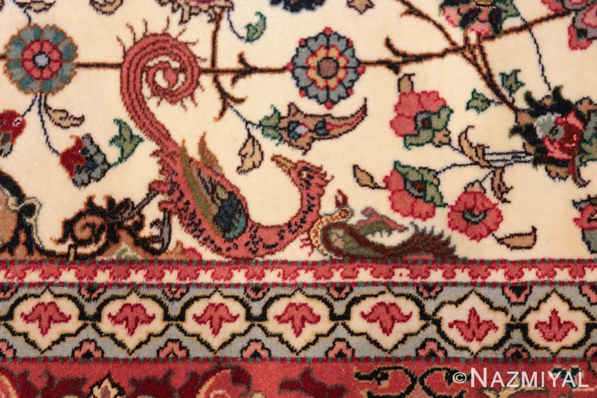 fine silk and wool large vintage tabriz persian rug 60016 birds Nazmiyal