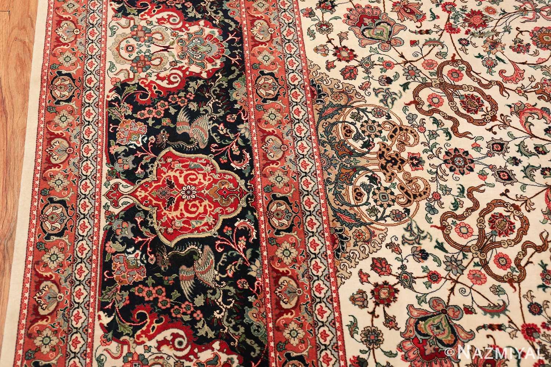 fine silk and wool large vintage tabriz persian rug 60016 border Nazmiyal