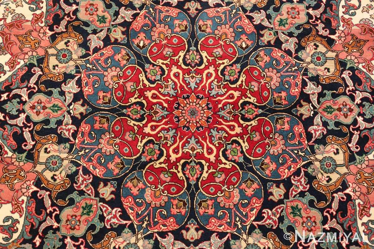 fine silk and wool large vintage tabriz persian rug 60016 center Nazmiyal
