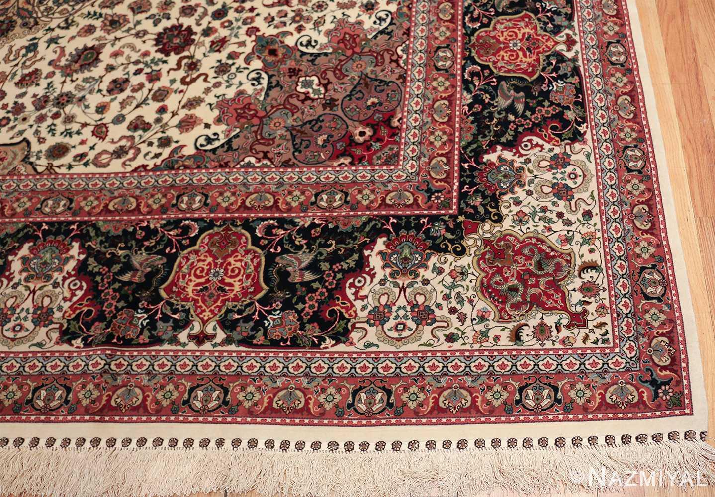 fine silk and wool large vintage tabriz persian rug 60016 corner Nazmiyal