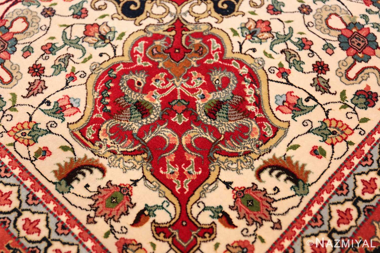 fine silk and wool large vintage tabriz persian rug 60016 dragon Nazmiyal